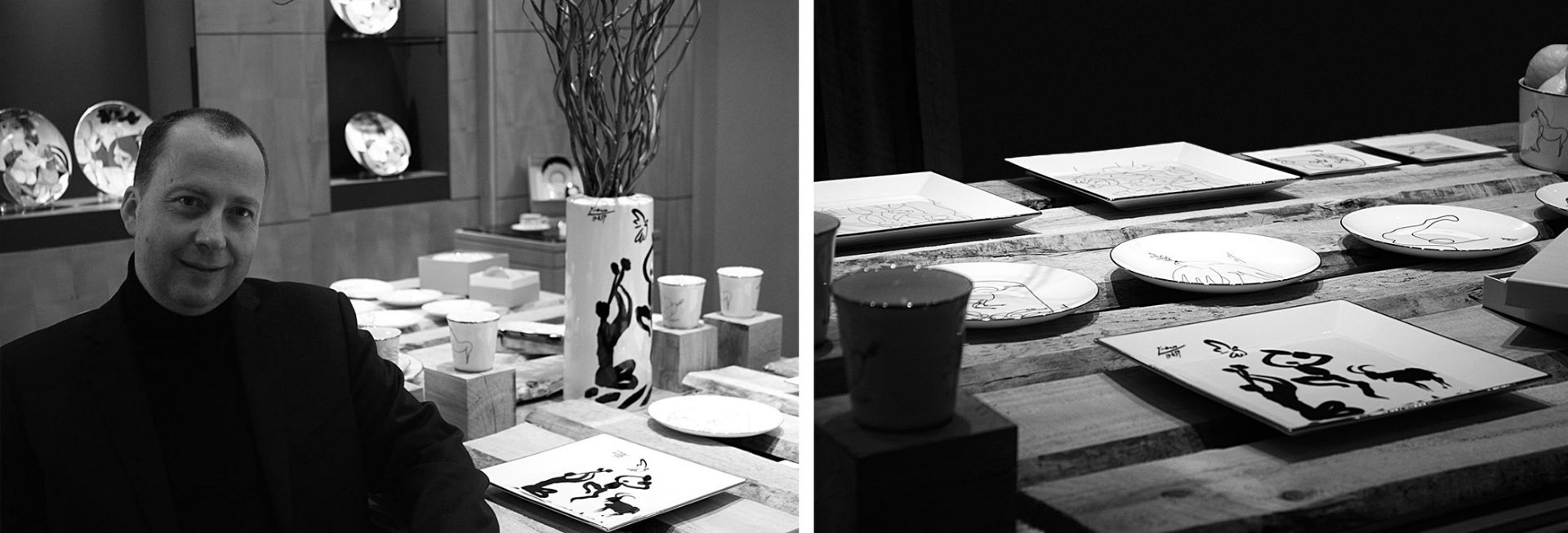 Marc de ladoucette portrait black and white porcelain paris sofitel picasso collction