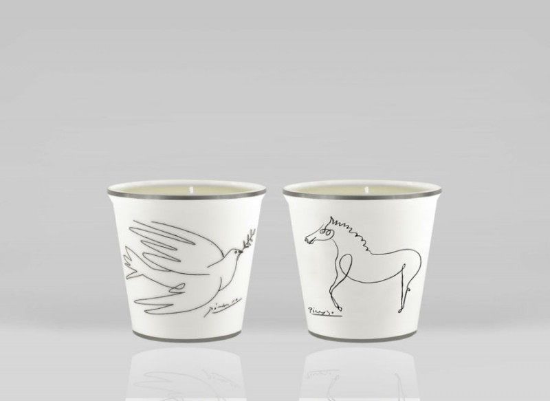 Porcelain picasso glass glasses candle candles horse dove luxe luxury marc de ladoucette