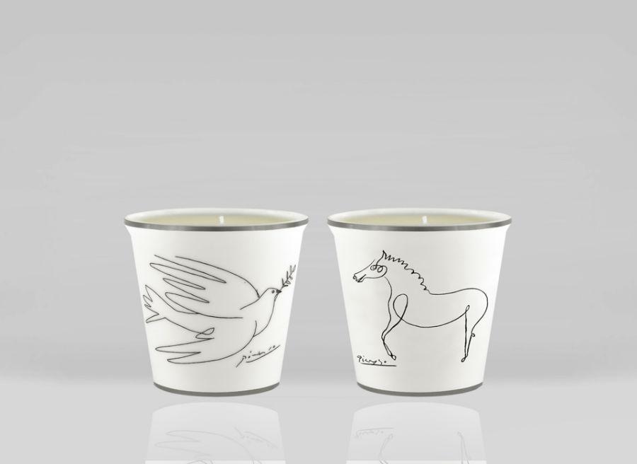 Porcelain picasso glass glasses candle candles horse dove luxe luxury marc de ladoucette