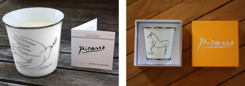 Porcelain picasso glass glasses candle candles horse dove luxe luxury marc de ladoucette giftbox gift box