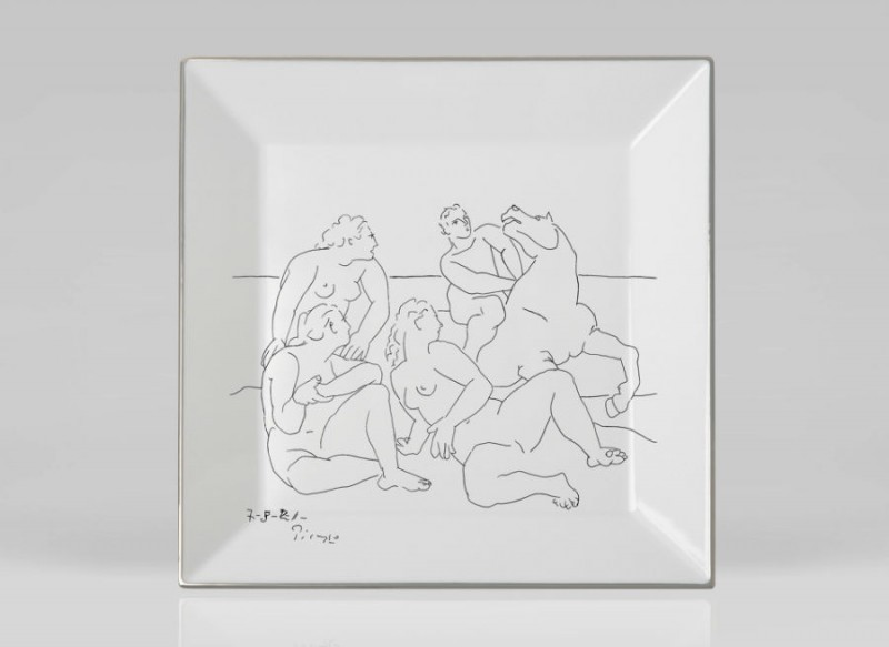 Picasso porcelain Square luxe luxury black and white drawing marc de ladoucette paris france