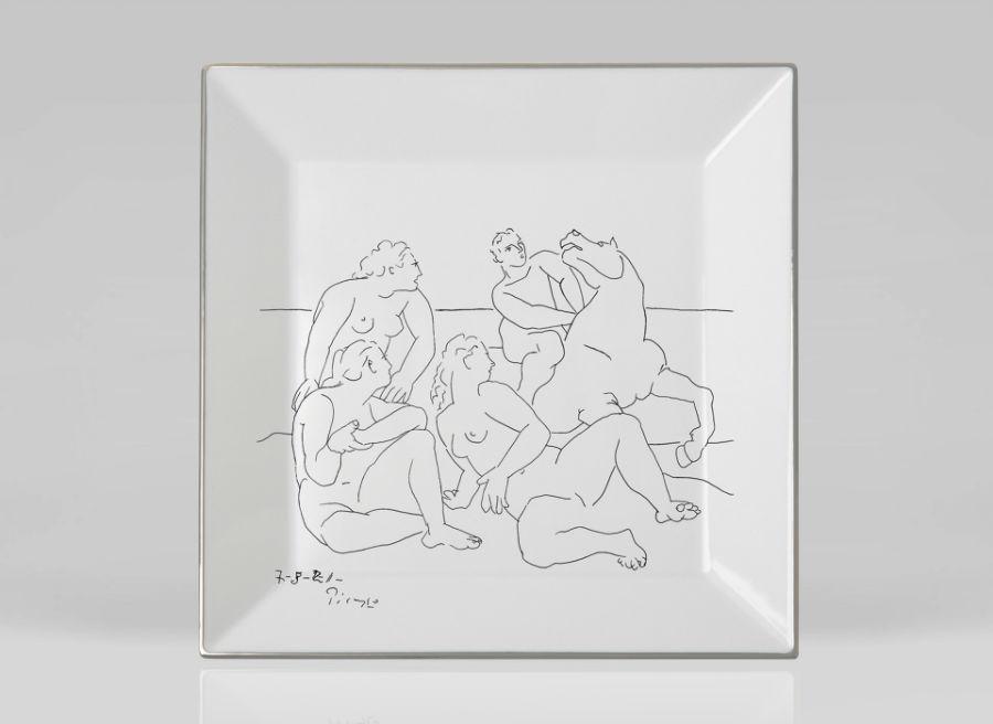 Picasso porcelain Square luxe luxury black and white drawing marc de ladoucette paris france