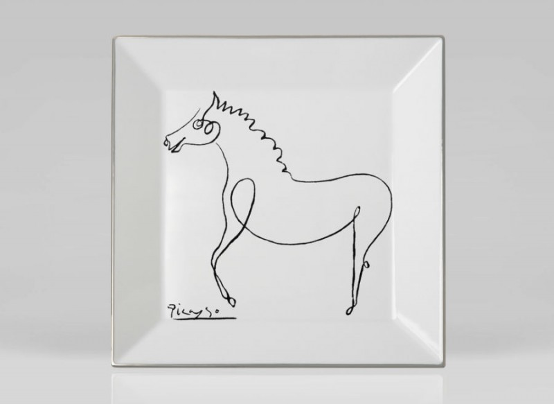 Picasso porcelain Square plate horse luxe luxury black and white drawing marc de ladoucette paris france