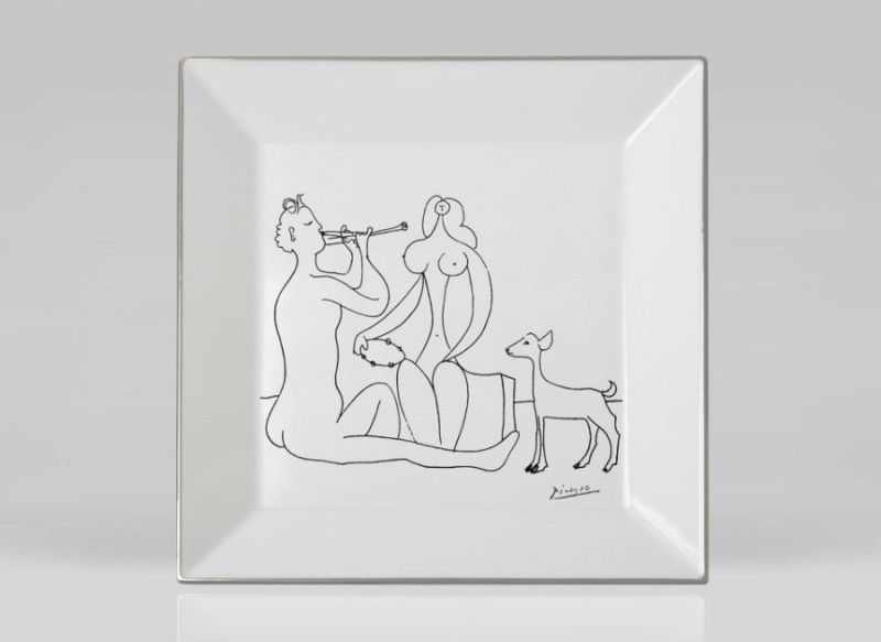 Picasso porcelain Square plate luxe luxury black and white drawing marc de ladoucette paris france