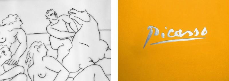 detail picasso plate drawing porcelain signature marc de ladoucette paris france