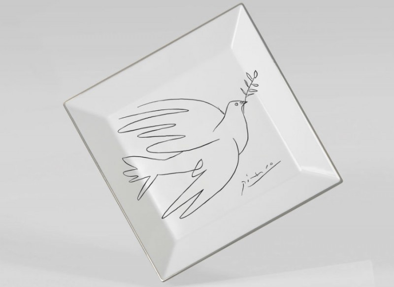 Picasso dove porcelain Square plate luxe luxury black and white drawing marc de ladoucette paris france