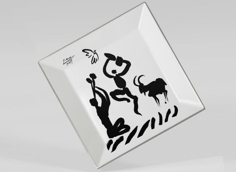 Picasso dancers porcelain Square plate luxe luxury black and white drawing marc de ladoucette paris france