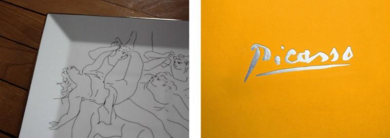 Picasso porcelain Square plate luxe luxury black and white drawing marc de ladoucette paris france
