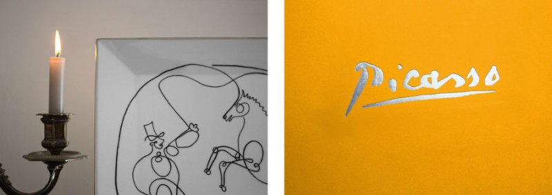 porcelain plate Picasso horse dresser cheval luxe luxury black and white drawing marc de ladoucette paris france signature