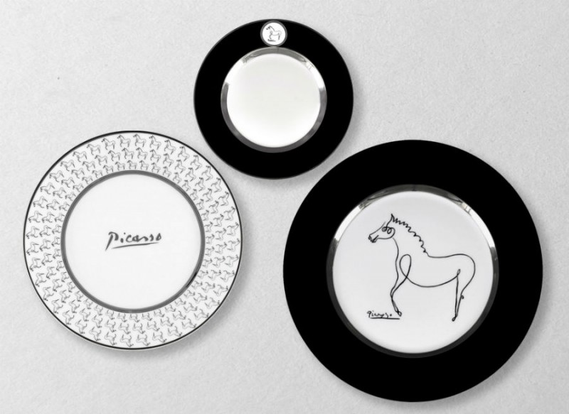 Porcelain picasso plate set horse luxe luxury drawing black and white marc de ladoucette