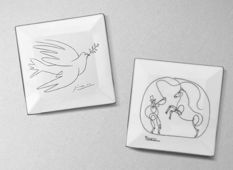 Picasso porcelain dove horse dresser plate luxe luxury black and white drawing marc de ladoucette paris france