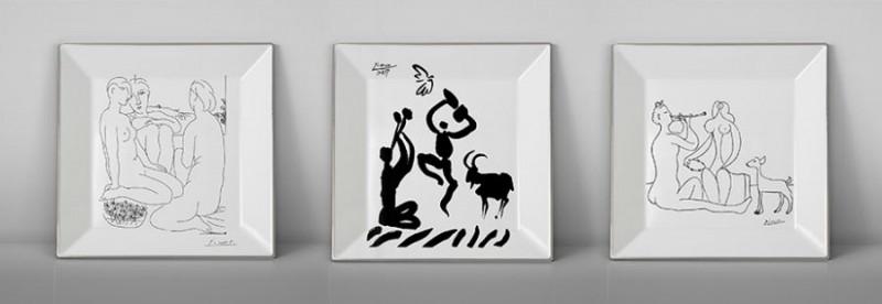 Picasso porcelain Square set of plate dancer musician luxe luxury black and white drawing marc de ladoucette paris france