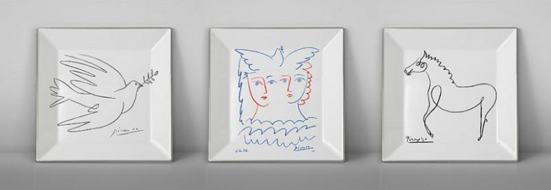 Picasso porcelain Square plate horse dove luxe luxury black and white drawing marc de ladoucette paris france