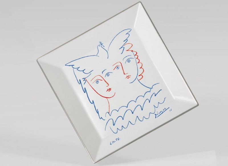 Picasso porcelain Square plate luxe luxury drawing marc de ladoucette paris france