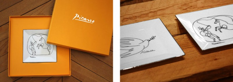 Picasso porcelain dove horse dresser plate luxe luxury black and white drawing marc de ladoucette paris france gift box giftbox