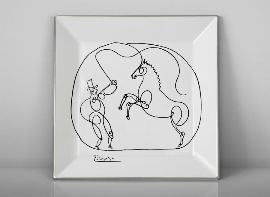 porcelain plate Picasso horse dresser cheval luxe luxury black and white drawing marc de ladoucette paris france