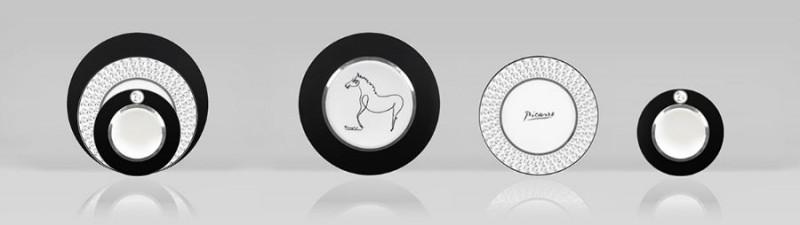 Porcelain picasso plate set horse luxe luxury drawing black marc de ladoucette