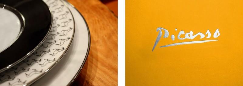 Porcelain picasso plate set horse luxe luxury drawing black and white marc de ladoucette signature