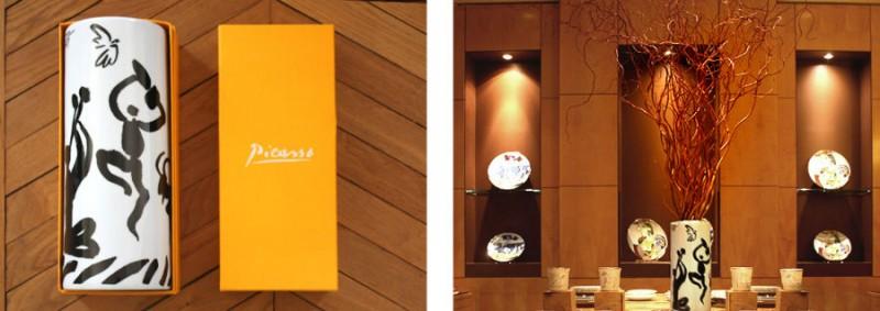 Marc de ladoucette Porcelain vase Picasso drawing Gift boxes sofitel hotel paris