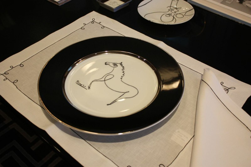 Porcelain picasso plate horse luxe luxury drawing black and white marc de ladoucette