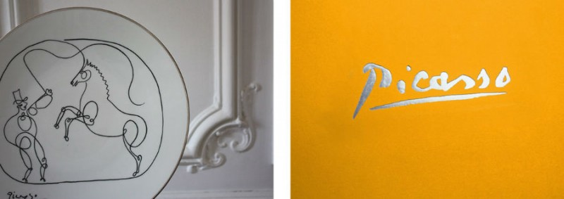 Cheval dompteur dessin picasso porcelaine assiette paris marc de la doucette paris parisien interieur signature