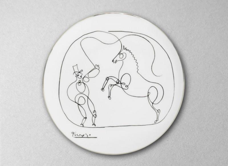 Assiette picasso dessin cheval et dresseur luxe noir et blanc porcelaine paris parisien marc de ladoucette