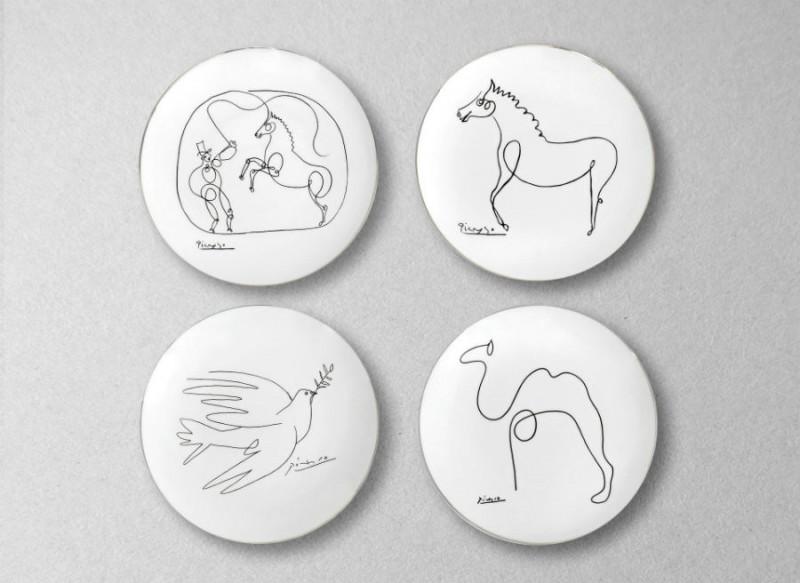 Cheval dove dompteur colombe dessin picasso porcelaine assiette paris marc de la doucette
